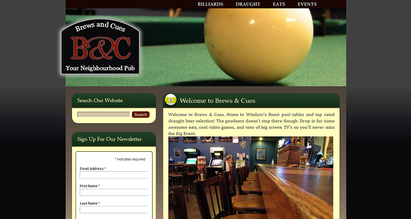 Brews and Cues website