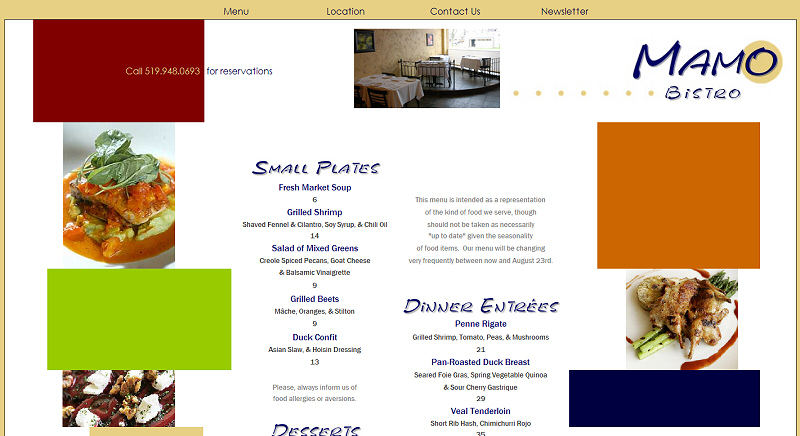 Mamo Bistro website